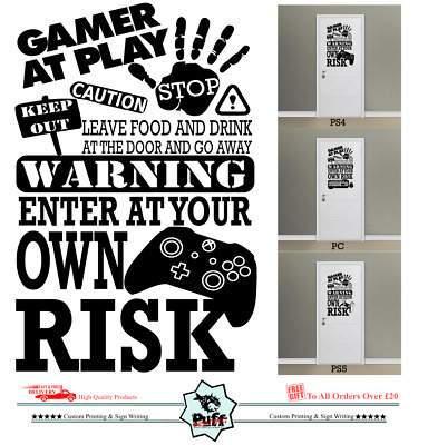 Xbox Ps4 Mouse Keep Out Vinyl Wall Stickers  Bedroom Gaming... • 3.99£