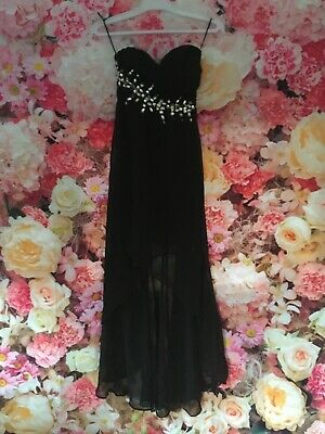Eva And Lola Black Crystal Sweetheart Crystal Detail Evening Party Prom Dress 8 • 14.99£
