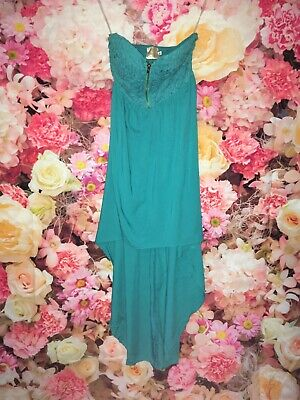 Eva And Lola Green Turquise Lace Bust Detail Sweetheart Club Party Prom Dress 8 • 14.99£