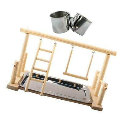 Parrot Playstand Bird Play Stand Cockatiel Playground Playpen W/ 5cm Cups & Tray • 14.20£