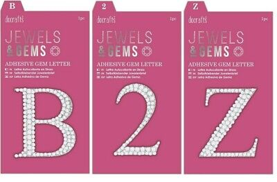 Docrafts Papermania Adhesive Diamante Jewels & Gems Letters 5.6cm A - Z & 0 - 9 • 0.99£