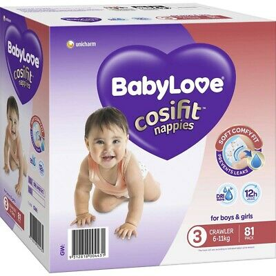 AU26.99 • Buy BabyLove Cosifit Nappies Crawler (6-11kg) X 81