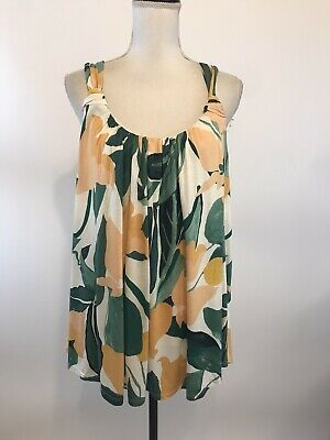 $ CDN30.22 • Buy Vanessa Virginia Anthropologie Sz XL Green Peach Floral Print Knotted Tank Top