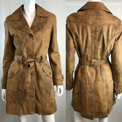 $ CDN158.59 • Buy Danier Women's Small Brown Leather Button Down Belted Vintage Trench Coat Jacket