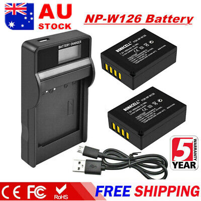 AU21.99 • Buy 2X 1400mAh NP-W126s W126 Battery + LCD Charger For Fujifilm X-M1 X-A1 X-T1 X100F