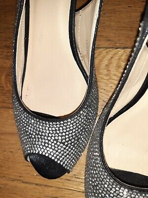 Sexy Ladies Shoes Silver Diamonds (size 8) High Heel With Back Strap • 15£