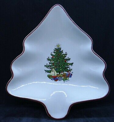 $18 • Buy Cuthbertson American Christmas Tree Shaped Dish White With Red Trim England