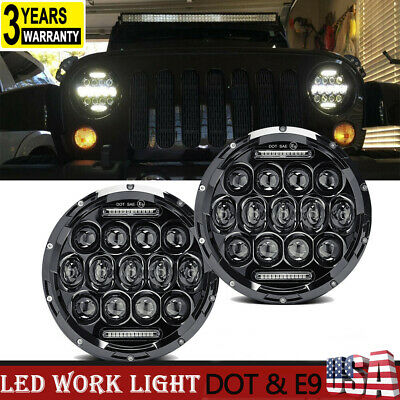 $65.43 • Buy For Military Humvee Headlights LED M998 Pair Head Light  High-Low 75W 7  Round