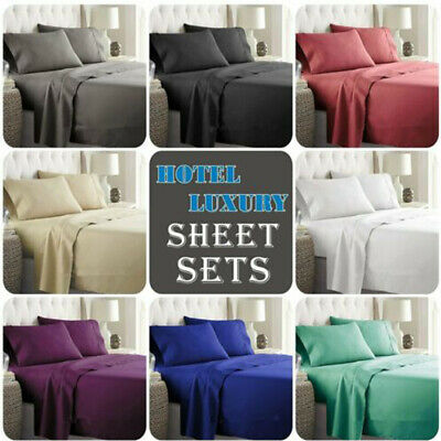 AU29.85 • Buy 4Pcs Bed Sheet Set Deep Pocket Fitted & Flat Sheet Single Double Queen King Size