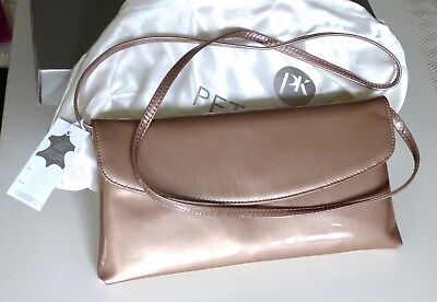£49.95 • Buy Peter Kaiser Bianca Taupe Patent Leather Clutch Bag # Christmas Or Birthday Gift