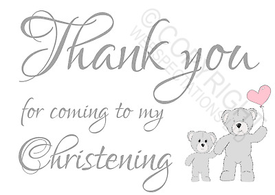 £0.99 • Buy 1-100 Pack Thank You For Coming To My Christening Cards Favours Girls Teddy Bear