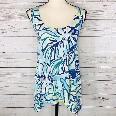 $24.97 • Buy Lilly Pulitzer Women Large Top Sleeveless Sharkbite Hem Abstract Stretch Cutout
