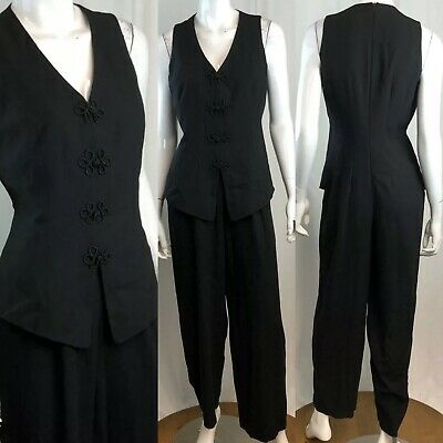 $25 • Buy Vintage Ann Taylor Women's 6 Black Sleeveless V-Neck Tuxedo Asian Jumpsuit Small