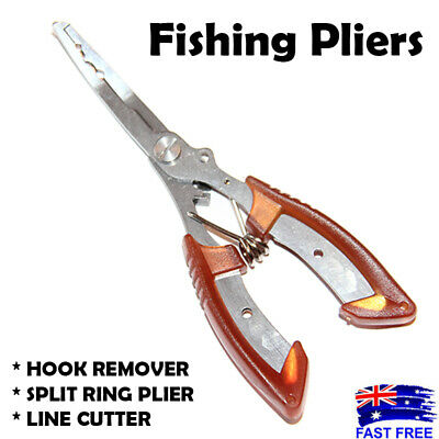 AU9.95 • Buy Stainless Steel Fishing Pliers Hook Remover Line Cutter Split Ring Gripper Red