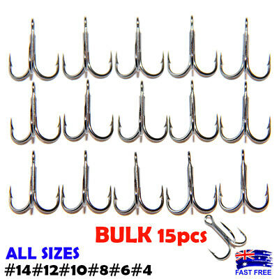 AU9.95 • Buy 15x Strong BKK Treble Hooks Sharpened Stinger #8 #10 #12 #14 Bream Whiting Lures