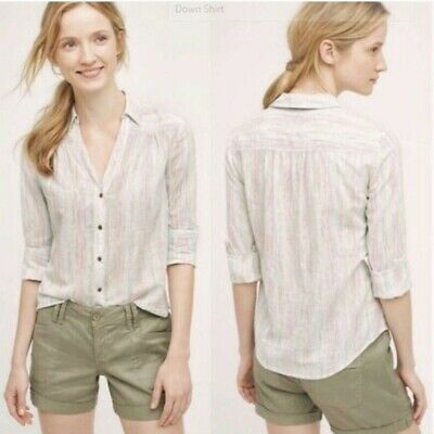 $ CDN35.24 • Buy Anthropologie Holding Horses Button Up Top Size 10 Long Sleeve Cotton Casual
