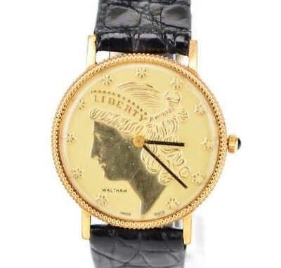 $400 • Buy D927 Vintage Unisex Waltham Swiss Made Gold Mechanical Liberty Coin Watch 53.3
