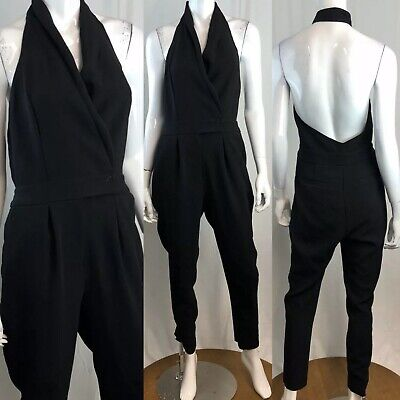 $35 • Buy $148 BCBGeneration 8 Black Halter Neck V-Neck Pant Jumpsuit Tuxedo Wrap Medium