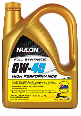 AU110 • Buy Nulon 5 Litre Full Synthetic 0w-40 High Performance Engine Oil