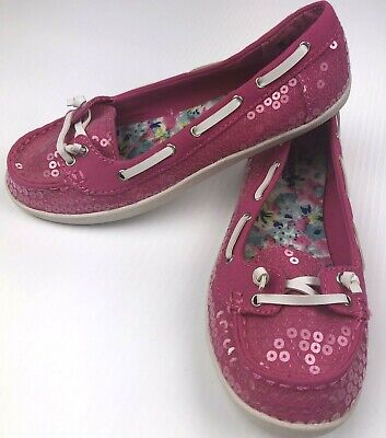 $12.99 • Buy Arizona Pink Sequin Slip-On Loafers Flats Womens Size 5