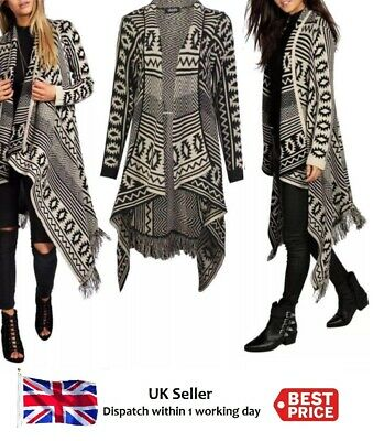 Women's Ladies Aztec Stripe Cable Knitted Waterfall Frill Poncho Cardigan  8-14 • 12.95£