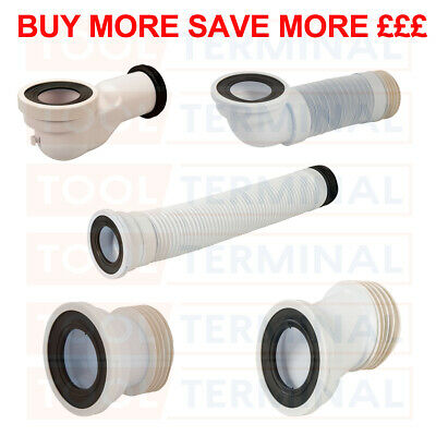 WC Toilet Waste Pan Connector Pipe 110mm Straight Offset Swan Neck Angled Flexy • 8.99£