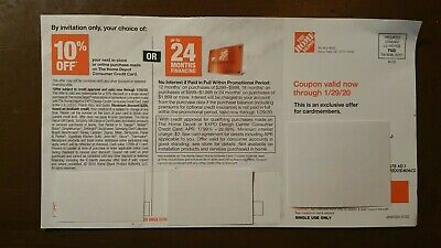 $19.99 • Buy HOME DEPOT 10% Off Credit Card Purchase / 24-Month Finance Coupon (01/29/20)