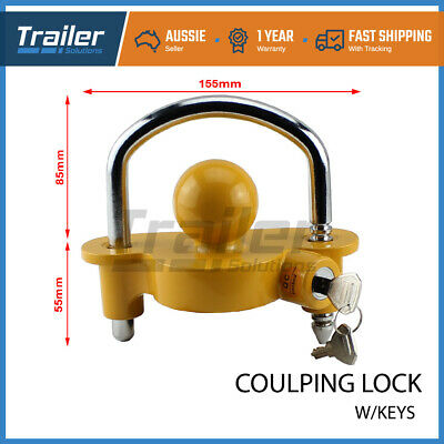 AU21.95 • Buy Trailer Parts Coupling Lock Universal Hitch Tow Ball 2 Keys Caravan Antitheft
