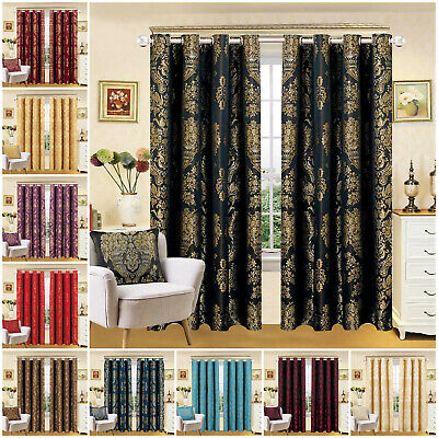Luxury Jacquard Curtains Fully Lined Eyelet Ring Top Bedroom Living Room Curtain • 22.99£