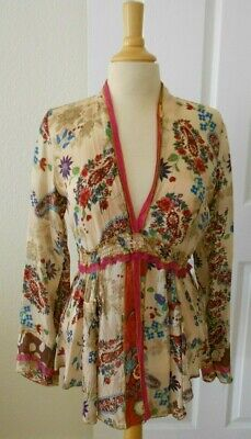 $72 • Buy Johnny Was Women's Blouse/Top~Bohemian~Size Small~Rayon~Floral Print~V-Neck~L/S