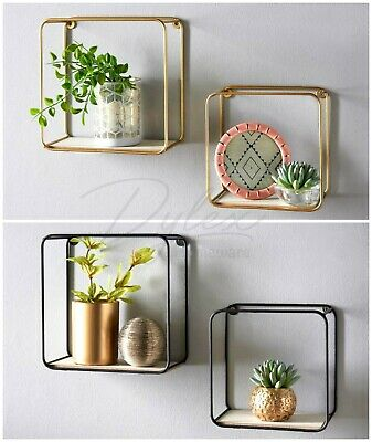 Metal Wire Floating Wall Shelf Multi Section Tromso Home Decor Set Of 2 • 11.50£