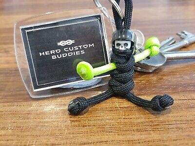 Hero Custom Buddies Skull Motorcycle Black & Green Keyring Handmade In The UK • 5.95£
