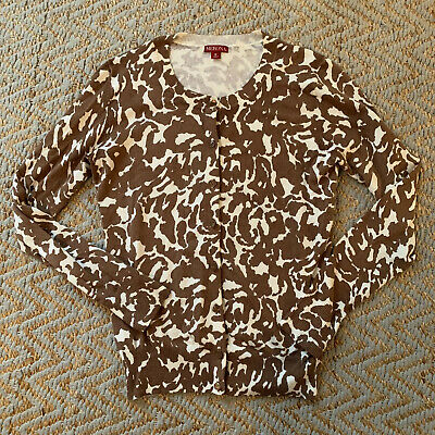 $10.99 • Buy Merona Womens Cardigan Sweater Size Medium Animal Print Button Front Brown White