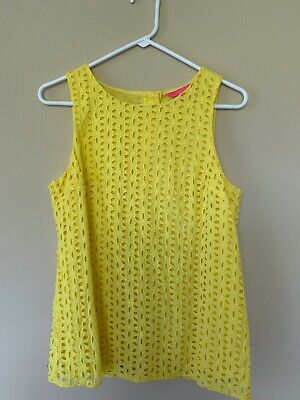 $15 • Buy Lilly Pulitzer Iona Top Pineapple Juice Oval Flower Petal Eyelet SZ S EUC
