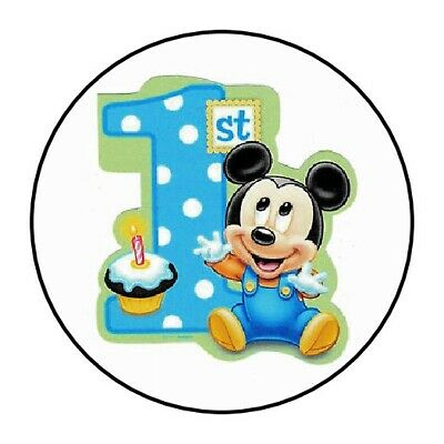 $3.89 • Buy 30 Baby Mickey Mouse First Birthday Party Stickers 1st Favors Seals Lollipop