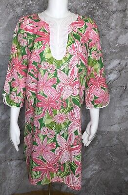 $32.50 • Buy LILLY PULITZER Pink Tunic Top Pink And Green Flower Print Size Medium Floral