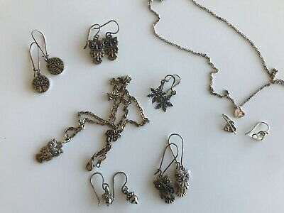 $ CDN24.99 • Buy Sterling Silver Lot Jewelry Lot Necklace Earrings Owl Heard Acorn Women's Mini