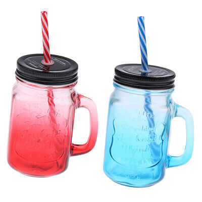 2Pack Mason Gradient Color Jars Mugs With Handles Lids And Drinking Straws 480ML • 11.90£
