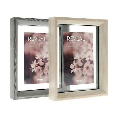Kenro Reveal Floating Glass Grey And Natural Wood Effect Picture Photo Frame • 15.54£