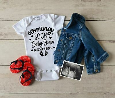 Personalised Baby Grow Vest Bodysuit Coming Soon Pregnancy Announcement Name #2 • 6.99£