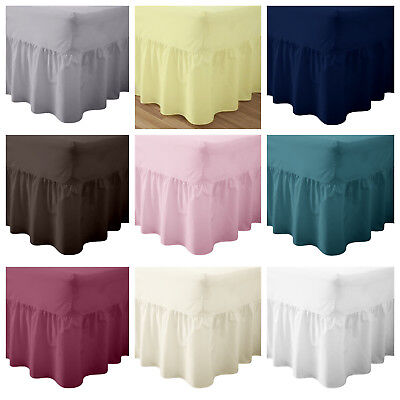 Plain Pollycotton Percale Valance Fitted Sheet Single, Double King, Super King • 8.99£