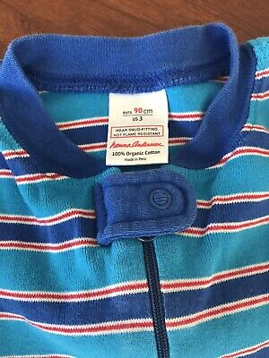 $12 • Buy Hanna Andersson Boy's Blue Red Stripe Sleeper 90 (size 3) Pajamas