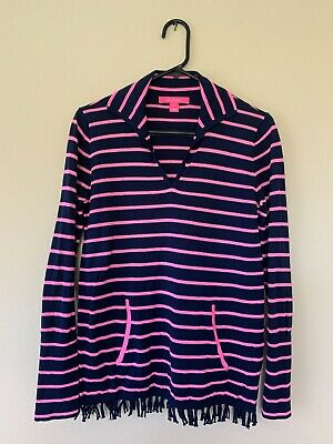 $13 • Buy Lilly Pulitzer Crestwood Sweater SZ Small True Navy Maritime Stripe EUC