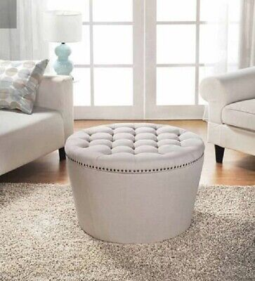 $134.32 • Buy Beige Round Storage Ottoman Cocktail Tufted Contemporary Fabric Nailhead Stool