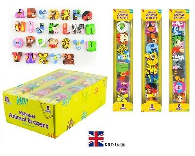8 X PACK ALPHABET ANIMAL ERASERS Novelty Rubbers Toy Party Bag Birthday Gift UK • 2.60£