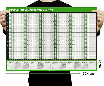 FISCAL 2020 - 2021 A2 Size Full Year Wall Planner Calendar Home Office Work A2  • 2.50£