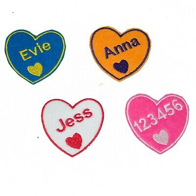 £2.89 • Buy Personalised Embroidered Name Heart Patch Badge Many Colours Iron On Sew On