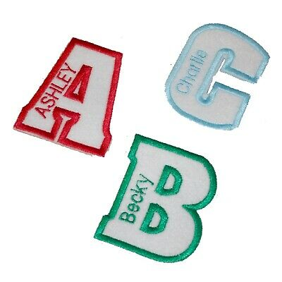 Personalised Embroidered Name In Letter Patch Badge Many Colours Iron On Sew On • 2.99£