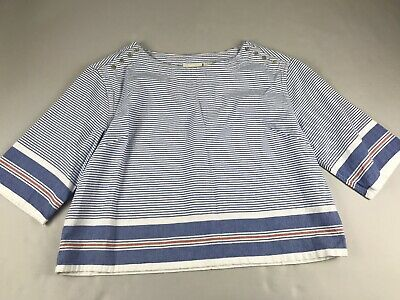 $ CDN39.76 • Buy Anthropologie Maeve Large L Boxy Sullivan Blue Striped Top Shirt Button Shoulder
