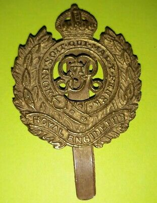 Royal Engineers British Army Cap Badge Flat World War 2 Issue 1943 Dated Brass • 50£